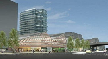 This conceptual drawing shows what the James Beard Public Market might look like if built at the west end of the Morrison Bridge. It's location would be just north and across Naito Parkway from the old Portland Public Market Building, which stood along the riverfront from 1933 to 1969. (courtesy SERA Architects)