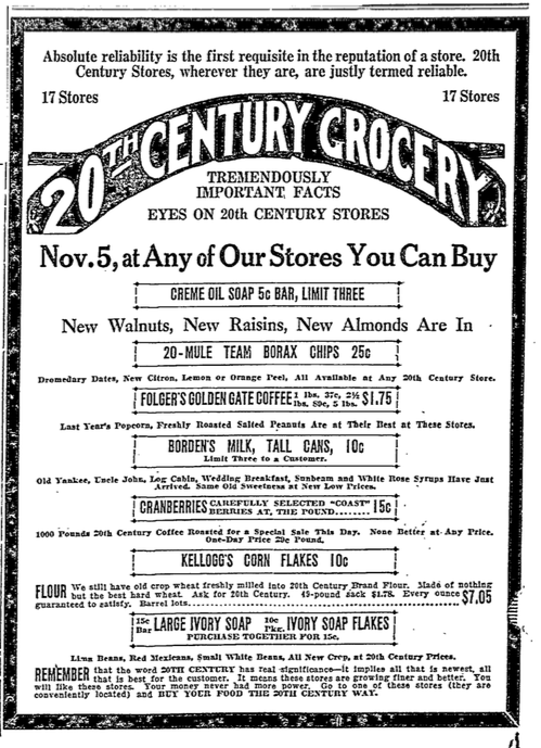A 1921 20th Century Grocery ad.