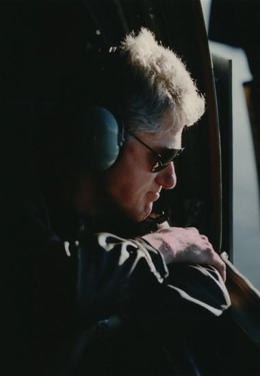 President Bill Clinton surveying the devastation of the Willamette Valley flood on Feb. 14, 1996.