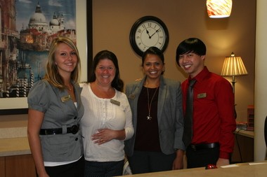 Russellville Park's friendly staff greets visitors at the front desk. From left: Sara Albers, Mari L., Meghna Davidson, Edward Cha.