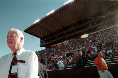 In this 1999 file photo, Paul Risser watches an Oregon State football game from the sideline in Corvallis. Risser served as the school's 13th president, from 1996 to 2002. Risser was OSU's president when Brenda Tracy was allegedly gang raped by four men, including Beavers' football players Calvin Carlyle and Jason Dandridge.
