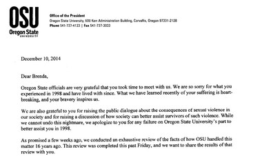 This is the two-page letter Oregon State president Edward Ray gave to Brenda Tracy. READ THE FULL LETTER [PDF]