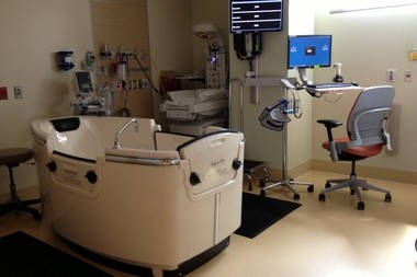 The hydrotherapy room in the Labor and Delivery unit at Kaiser Permanente's new Westside Medical Center.