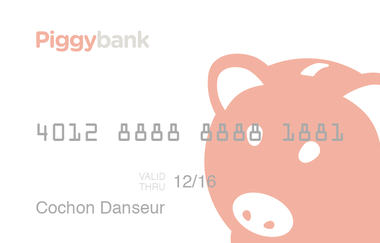 A rendering of the Piggybank debit card, which will allow parents to transfer money from their bank accounts to children in payment for chores.
