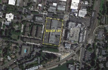 The Wizer block, also known as Block 137, in downtown Lake Oswego could be redeveloped to include shopping and 240 high-end apartments if W&K Development, a Portland firm, can work out a partnership with the city.