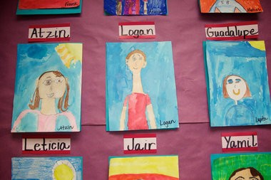 Self drawn portraits of the students in the 4th grade class. Estella Weigand's 4th grade class does their work in English in the morning and in Spanish in the afternoon at Echo Shaw Elementary School. Benjamin Brink/Staff Photographer