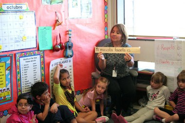 At Echo Shaw Elementary School, teacher Evelia Vega asks English-dominant students to share their favorite pet in Spanish. (Kelsey O'Halloran/Forest Grove Leader)