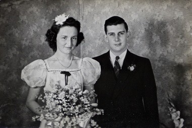 """Barbara Krise, on their June 30, 1941, wedding day: """"My folks wanted me to buy a fancy wedding dress like my sisters had had before. And I said, 'Nope!' And so I wore the dress that I wore for my sister's wedding. And got married in that."""""""