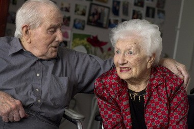 HILLSBORO, OREGON - January 15, 2012 - Ambrose and Martha Chiotti say it was love at first sight. Theirs also proves to have been a long-lasting love. The two, who live together at Harmony House in Hillsboro, will turn 100 this year.