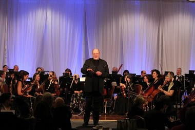 Guest conductor David Ogden Stiers and musicians from the Portland Columbia Symphony Orchestra.