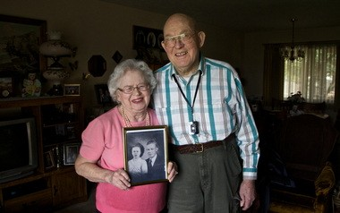 When you first hear the details of Marvin and Doris Wyman it's a bit confusing. Marvin has lived in his house on NE 39th for over 50 years. Doris has only lived in the house for seven years. But they were married October 12, 1948. Turns out they weren't married for long. Doris hadn't seen the world yet and didn't think she was ready to settle down. They got a divorce shortly after they were married although they couldn't give the lawyer any good reasons for divorcing. After that each got married again and were married for decades. After both of their spouses passed away Marvin was fiddling with his computer and looked Doris up. They were married again on November 12, 2005. Doris is holding a photo from their first marriage..