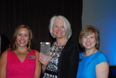From left, Shannon Mackey, chair of the board of directors for Bridge Meadows; Joan Allen, co-owner of Windermere Real Estate and co-chair of the Windermere Foundation; and Derenda Schubert, executive director of Bridge Meadows.