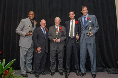 From left, Craig Robinson, head menâÂÂÂÂs basketball coach at Oregon State; Duncan Campbell, founder of Friends of the Children and The Campbell Group; Mike Greene, partner, Rosenthal, Greene & Devlin, P.C; Scott Keeney, president and CEO, nLIGHT; and Chris Dudley, former NBA player and founder of the Chris Dudley Foundation.