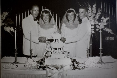 Pat Duffy, Jean Duffy, Ann Lau, Dave Lau, left to right, married on August 16th, 1953 in Boise, ID. August 16, 2013