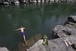 High Rocks is a popular swimming hole on the Clackamas River.