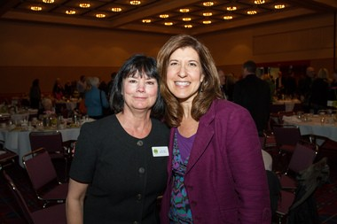 (left to right) Meals on Wheels People Executive Director Joan Smith and New Seasons Market CEO and keynote speaker Wendy Collie