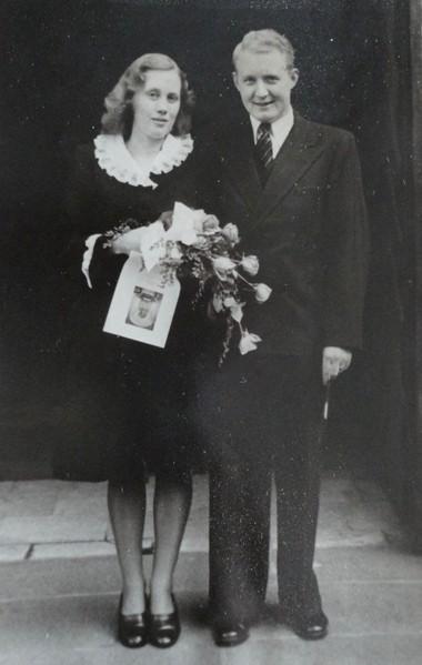 Erik and Kaja Voldbaek's 1947 wedding day photo in Copenhagen.