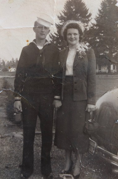 Hollis Hess had joined the U.S. Navy and was on his way to Korea when he and Shirley Hess married. She was 16 at the time.