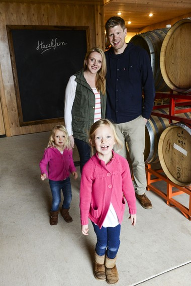 Bryan and Laura Laing and their daughters, Ava, 4, left; Adalyn, 6, front