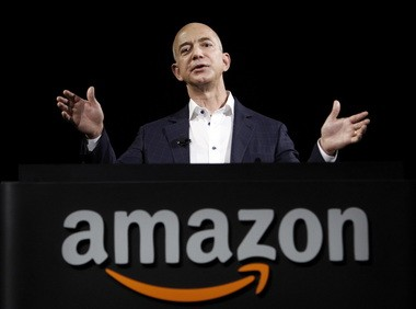 Jeff Bezos, Amazon founder and CEO, speaks in Santa Monica, Calif., on Sept. 6, 2012.
