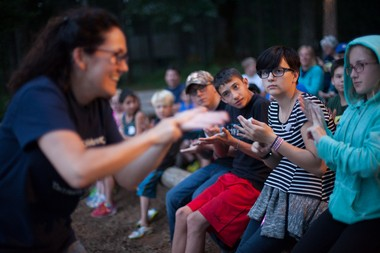 Ash Regan-Vienop, 13, (striped shirt) participates in activities at Merry Heart Children's Camp.