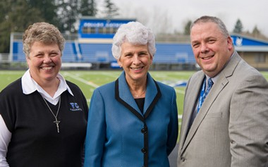 Sisters of St. Mary of Oregon Superior General Sister Charlene Herinckx (left) and Valley Catholic School President Bob Weber congratulate Marlene Schmidt Duyck, recipient of the school's 2015 Distinguished Alumni Award.