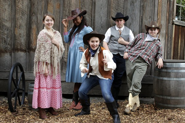 "The play's the thing when Shakespeare comes to life in the Wild West and the villain drives a ""bard"" bargain in ""Shakespeare Goes to Gravel Gulch"" at Valley Catholic School. Left to right: Hannah Johnson, Samira Jones, Jennah Curfman, Jeremy Knapp and Capri Sullivan."