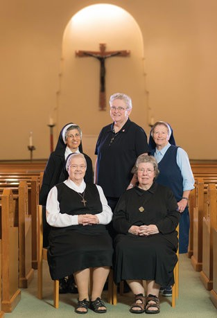 The 2015 Jubilarians of the Sisters of St. Mary of Oregon: Seated: Sr. Elma Heesacker (left) and Sr. Marilyn LeDoux. Standing (left to right): Sr. Marie Bernadette George, Sr. Marcella Parrish and Sr. Sara Goggin.