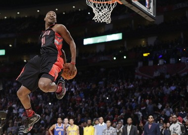 Terrence Ross of the Toronto Raptors goes up during the dunk contest at All-Star Saturday Night in Houston.
