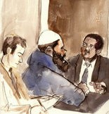 Courtroom artist's drawing of (center), Patrice Lumumba Ford.