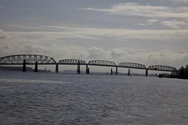 The Interstate 5 bridge looking east from Hayden Island