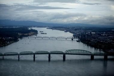 The I-5 Bridge and the railroad bridge over the Columbia River