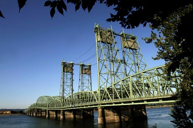 The Interstate 5 bridge spans the Columbia River between Oregon and Washington states in Vancouver.