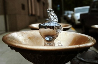 One of several Benson Bubblers, iconic fixtures in downtown Portland.