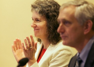 Mayor Charlie Hales, foreground, has expressed a willingness to help city businesses deal with sidewalk conduct problems. However, the process could be an opportunity for Commissioner Amanda Fritz, background, to mend fences with the business community.