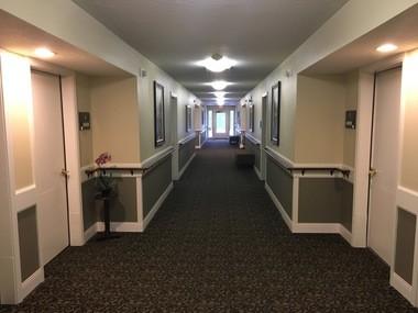 The hallway leading to Wayne Faulk's room at Deerfield Village.