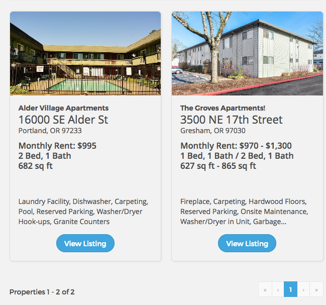 Portland's apartment options for monthly rent of $1,000 on NoAppFee.Com
