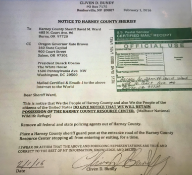"In a detention memo, federal prosecutors included this Feb. 1, 2016 notarized mailing from Cliven Bundy to the Harney County Sheriff, indicating that ""We the People'' intended to retain possession of the ""Harney County Resource Center,'' the name the occupiers gave to the Malheur National Wildlife Refuge. (Federal memo in support of Cliven Bundy's detention)"