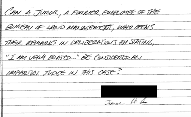 The second of two questions U.S. District Judge Anna J. Brown received from the jury in the Oregon standoff trial about midday on Tues., Oct. 25, 2016.