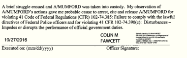 The probable cause statement filed by Colin Fawcett in the U.S. Marshals Service. (Part 2/Court document)