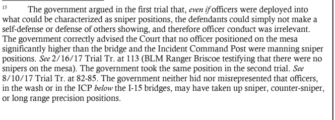 A footnote from the prosecutors' legal brief, regarding what they say they shared in the first two trials about the existence of federal snipers. The judge, in her ruling, was concerned that the government had denied the snipers' presence near the Bundy Ranch in the first two trials, and at the start of the third trial.