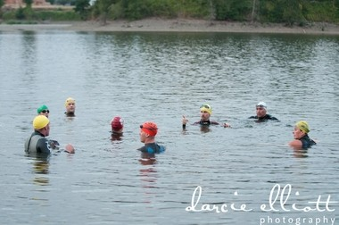 Swimmers bob in Clackamas Cove, the setting for the Clackamas Cove Triathlon this June.