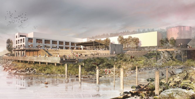 An artist's rendering of the alcove view of the yard shown Wednesday, May 31, 2017, at the Willamette Falls Legacy Project presentation.