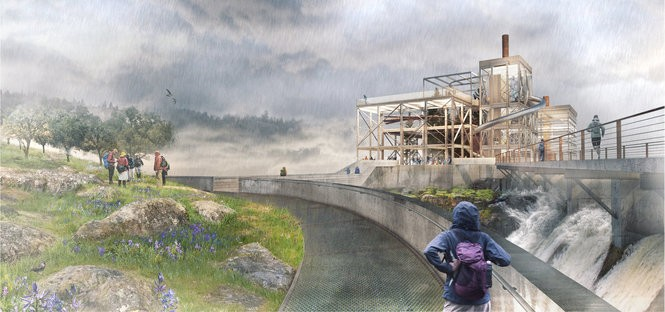 An artist's rendering of the PGE DAM from the path view as shown Wednesday, May 31, 2017, at the Willamette Falls Legacy Project presentation.
