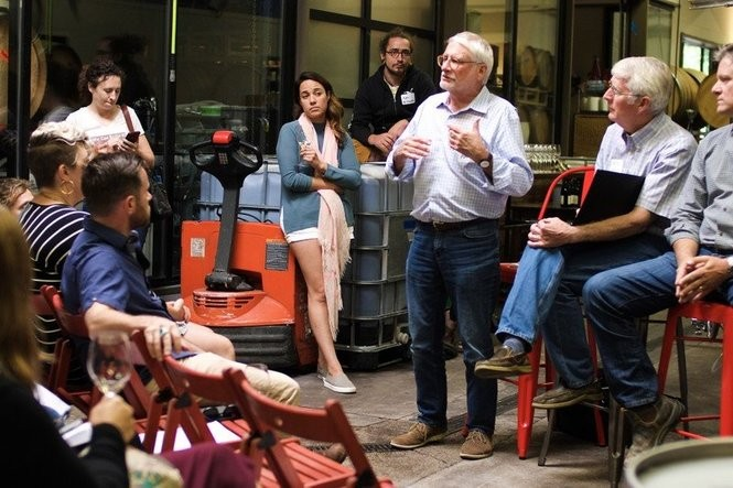 Oregon winemaker David Adelsheim describes wine labeling proposals at a recent town hall meeting. (Photo:Ross Maloof)