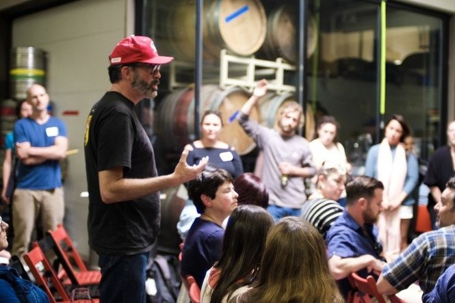 Barnaby Tuttle of Teutonic Wine Co. explains his concerns about a truth-in-wine-labeling proposal. (Photo: Ross Maloof)