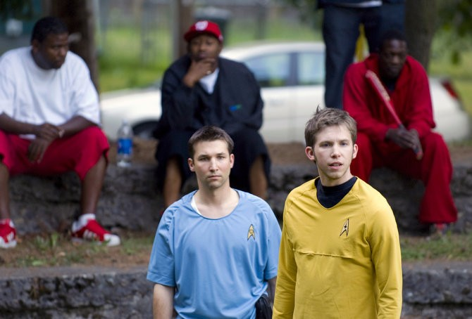 "Paul Pistey, as Dr. McCoy, and Adam Rosko, as Capt. Kirk, rehearse while Woodlawn Park patrons watch in the background before ""Trek in the Park's"" first performances in 2009."