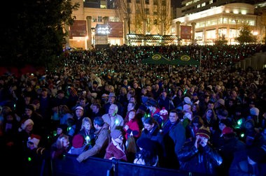 Thousands gathered in Portland's Pioneer Courthouse Square on Nov. 26, 2010, the night Mohamed Mohamud is suspected of attempting to ignite a massive bomb loaded into a van parked nearby.