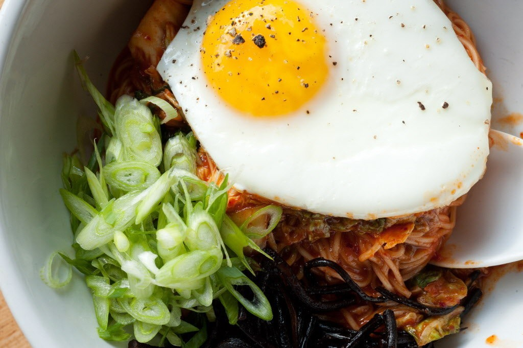Somen noodles with a fried egg at Smallwares.