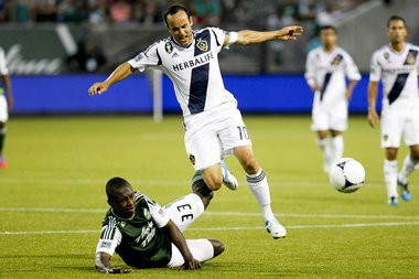 Los Angeles forward/midfielder Landon Donovan (right) says he is close to regaining his top form and the Galaxy are ready to make a run at an unprecedented third consecutive MLS Cup championship. Katie Currid/The Oregonian